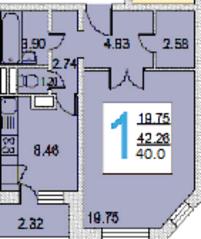ЖК «iLove», планировка 1-комнатной квартиры, 40.00 м²
