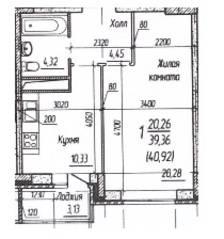 ЖК «Потапово», планировка 1-комнатной квартиры, 39.36 м²