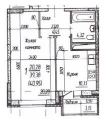 ЖК «Потапово», планировка 1-комнатной квартиры, 40.95 м²