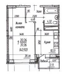 ЖК «Потапово», планировка 1-комнатной квартиры, 40.92 м²