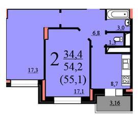 ЖК «Потапово», планировка 2-комнатной квартиры, 54.20 м²