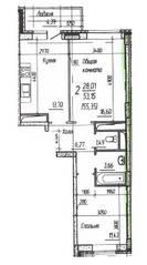 ЖК «Потапово», планировка 2-комнатной квартиры, 55.35 м²