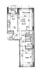 ЖК «Потапово», планировка 2-комнатной квартиры, 66.35 м²