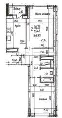ЖК «Потапово», планировка 2-комнатной квартиры, 66.91 м²