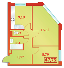 ЖК «Бенуа-2», планировка 2-комнатной квартиры, 47.75 м²