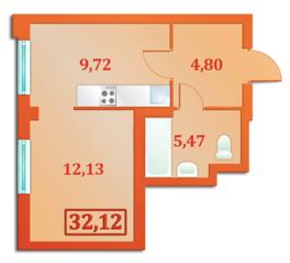 ЖК «Бенуа-2», планировка 1-комнатной квартиры, 32.12 м²