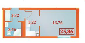 ЖК «Бенуа-2», планировка студии, 25.86 м²