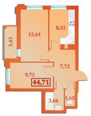ЖК «Бенуа-2», планировка 2-комнатной квартиры, 44.71 м²