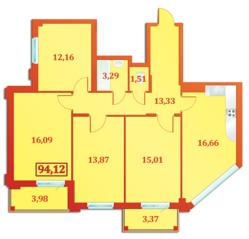 ЖК «Бенуа-2», планировка 3-комнатной квартиры, 94.12 м²