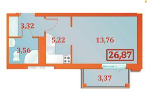 ЖК «Бенуа-2», планировка студии, 26.87 м²