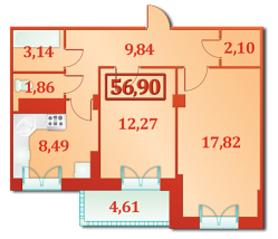ЖК «Александрийский», планировка 2-комнатной квартиры, 56.90 м²