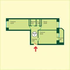 ЖК «Новый Клин», планировка 2-комнатной квартиры, 56.02 м²