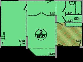 ЖК «Букино», планировка 2-комнатной квартиры, 57.87 м²