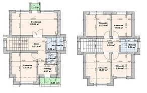 МЖК «Кутузово клаб», планировка 5-комнатной квартиры, 125.00 м²