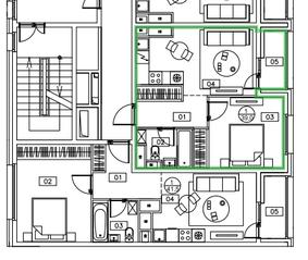 ЖК «Микрогород «В лесу», планировка 1-комнатной квартиры, 39.00 м²