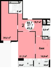 ЖК «Квартал 38А», планировка 2-комнатной квартиры, 87.70 м²