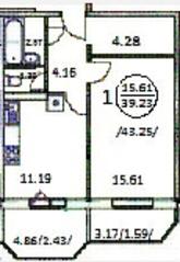ЖК «Лама-Парк», планировка 1-комнатной квартиры, 39.23 м²