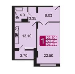 ЖК «на ул. Дубки», планировка 1-комнатной квартиры, 52.83 м²