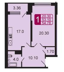 ЖК «на ул. Дубки», планировка 1-комнатной квартиры, 54.78 м²