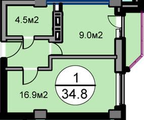 ЖК «Дом на Садовой», планировка 1-комнатной квартиры, 34.80 м²