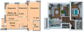 ЖК «Дом на Садовой», планировка 3-комнатной квартиры, 67.30 м²