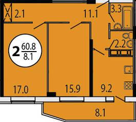 ЖК «Прибрежный» (Лыткарино), планировка 2-комнатной квартиры, 60.80 м²