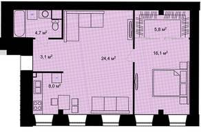 ЖК «Адмирал» (Адмиралтейский), планировка 2-комнатной квартиры, 62.10 м²