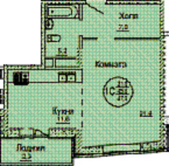 ЖК «Смирновка», планировка 1-комнатной квартиры, 47.50 м²