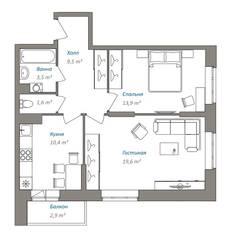 ЖК «Люберцы 2016», планировка 2-комнатной квартиры, 59.75 м²