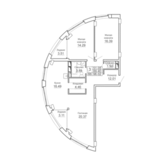 ЖК «9-18», планировка 3-комнатной квартиры, 96.02 м²