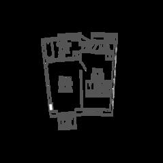 ЖК «9-18», планировка 1-комнатной квартиры, 40.85 м²