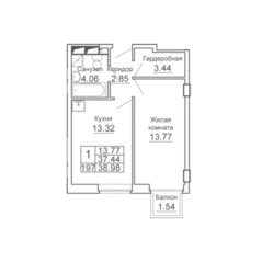 ЖК «9-18», планировка 1-комнатной квартиры, 38.98 м²