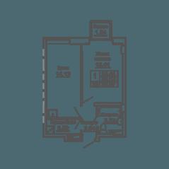 ЖК «9-18», планировка 1-комнатной квартиры, 38.07 м²