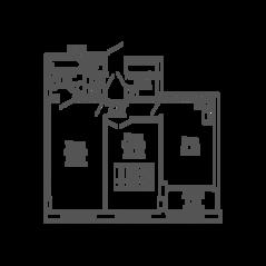 ЖК «9-18», планировка 2-комнатной квартиры, 59.89 м²