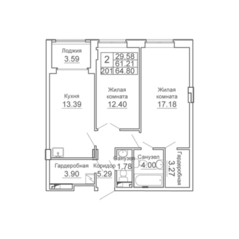 ЖК «9-18», планировка 2-комнатной квартиры, 64.80 м²