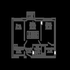 ЖК «9-18», планировка 2-комнатной квартиры, 56.85 м²