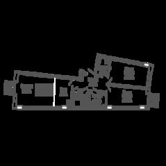 ЖК «9-18», планировка 2-комнатной квартиры, 82.79 м²