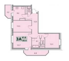 ЖК «Некрасовский», планировка 3-комнатной квартиры, 80.60 м²