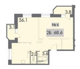 ЖК «Некрасовский», планировка 2-комнатной квартиры, 68.60 м²