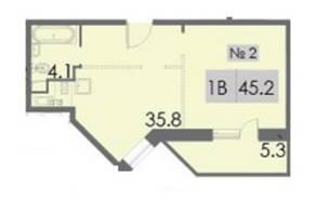 ЖК «Некрасовский», планировка 1-комнатной квартиры, 45.20 м²