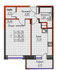 ЖК «Новые Клюшки», планировка 1-комнатной квартиры, 40.08 м²