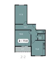 ЖК «Парк на Фабричной», планировка 2-комнатной квартиры, 73.80 м²