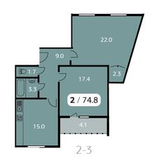 ЖК «Парк на Фабричной», планировка 2-комнатной квартиры, 74.80 м²