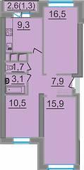 МЖК «ЗаМитино», планировка 3-комнатной квартиры, 67.00 м²