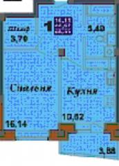 ЖК «Bravo!», планировка 1-комнатной квартиры, 48.55 м²