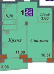 ЖК «Bravo!», планировка 1-комнатной квартиры, 49.36 м²