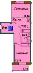 ЖК «Bravo!», планировка 1-комнатной квартиры, 54.24 м²
