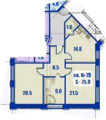 МЖК «Династия» (ул. Фабричная, д. 15Д), планировка 2-комнатной квартиры, 75.90 м²
