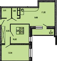 ЖК «в поселке Правдинский», планировка 3-комнатной квартиры, 60.23 м²