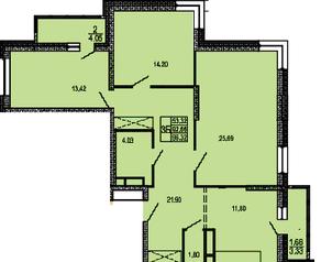 ЖК «в поселке Правдинский», планировка 3-комнатной квартиры, 96.32 м²